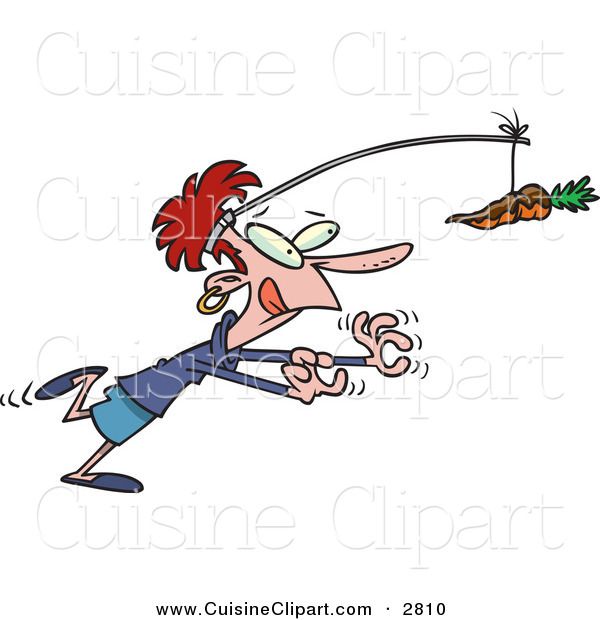 Cuisine Clipart of a Smiling and Dieting Woman Chasing a Chocolate Covered Carrot on a Stick