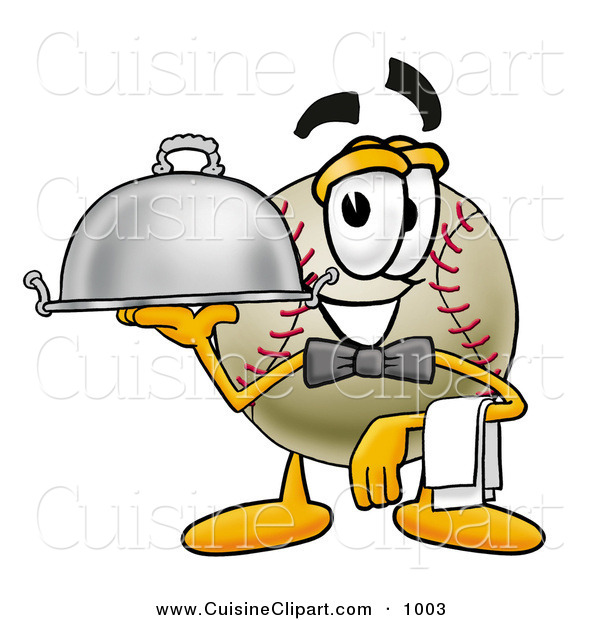 Cuisine Clipart of a Smiling Baseball Mascot Cartoon Character Dressed As a Waiter and Holding a Serving Platter