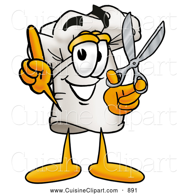 Cuisine Clipart of a Smiling Chefs Hat Mascot Cartoon Character Holding a Pair of Scissors