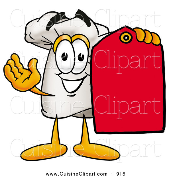 Cuisine Clipart of a Smiling Chefs Hat Mascot Cartoon Character Holding a Red Sales Price Tag