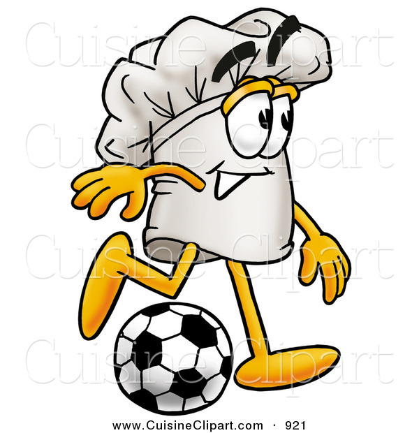 Cuisine Clipart of a Smiling Chefs Hat Mascot Cartoon Character Kicking a Soccer Ball