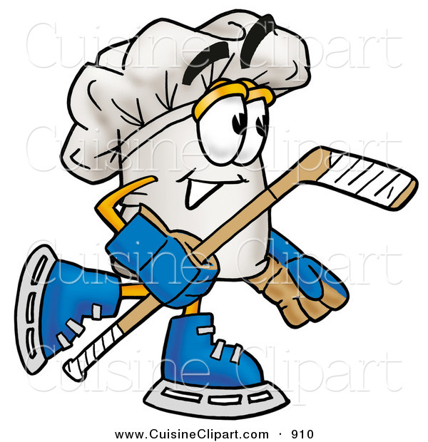 Cuisine Clipart of a Smiling Chefs Hat Mascot Cartoon Character Playing Ice Hockey