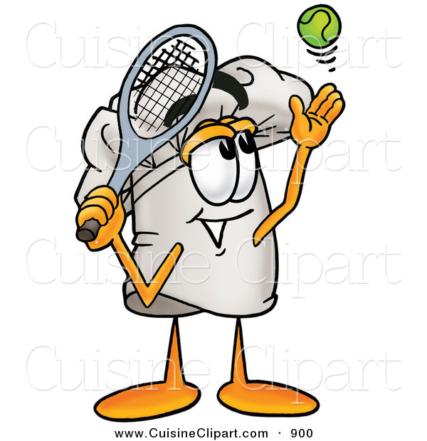 Cuisine Clipart of a Smiling Chefs Hat Mascot Cartoon Character Preparing to Hit a Tennis Ball