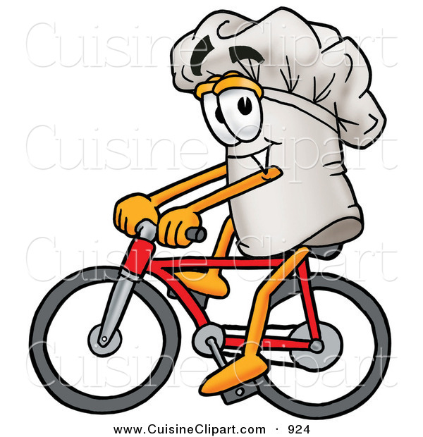 Cuisine Clipart of a Smiling Chefs Hat Mascot Cartoon Character Riding a Red Bicycle