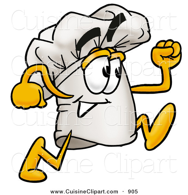 Cuisine Clipart of a Smiling Chefs Hat Mascot Cartoon Character Running
