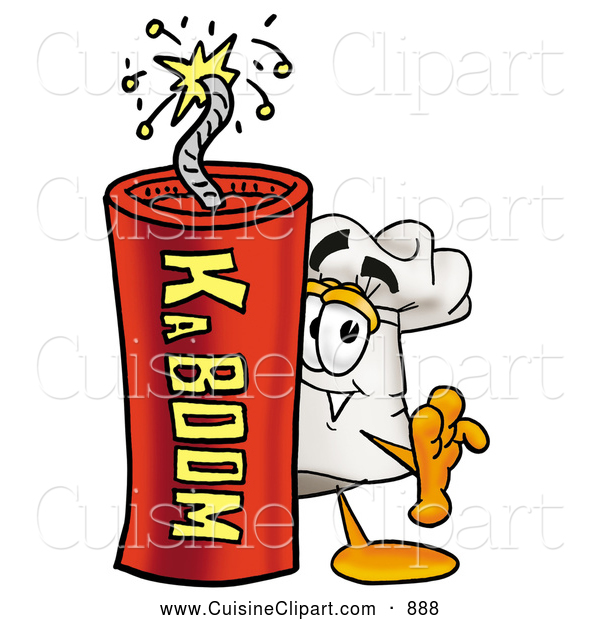 Cuisine Clipart of a Smiling Chefs Hat Mascot Cartoon Character Standing with a Lit Stick of Dynamite