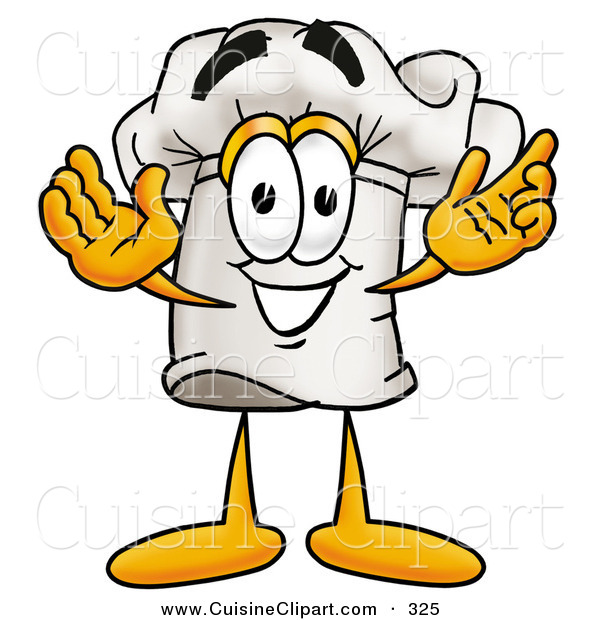 Cuisine Clipart of a Smiling Chefs Hat Mascot Cartoon Character with Welcoming Open Arms