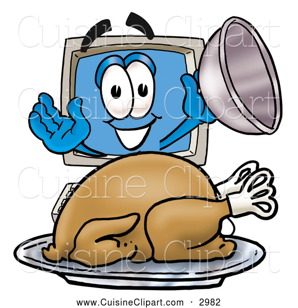 Cuisine Clipart of a Smiling Desktop Computer Mascot Cartoon Character Serving a Thanksgiving Turkey on a Platter