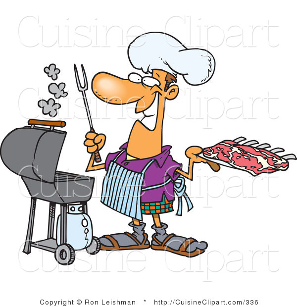 Cuisine Clipart of a Smiling Man Preparing to Barbeque Ribs on a Gas Grill