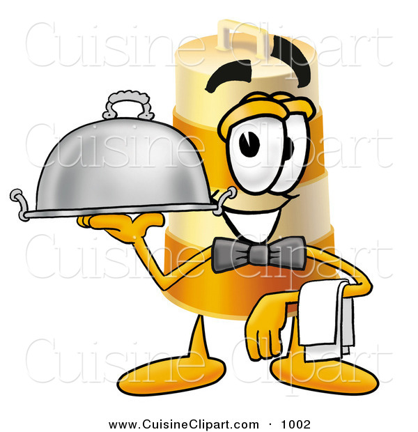 Cuisine Clipart of a Smiling Orange and White Barrel Mascot Cartoon Character Dressed As a Waiter and Holding a Serving Platter