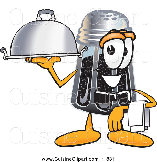 Cuisine Clipart of a Smiling Pepper Shaker Mascot Cartoon Character Dressed As a Waiter and Holding a Serving Platter