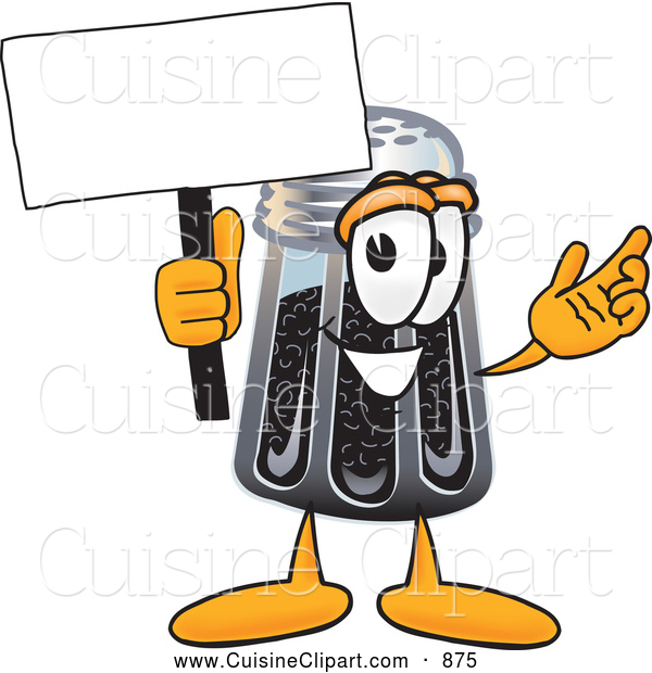 Cuisine Clipart of a Smiling Pepper Shaker Mascot Cartoon Character Holding a Blank Sign