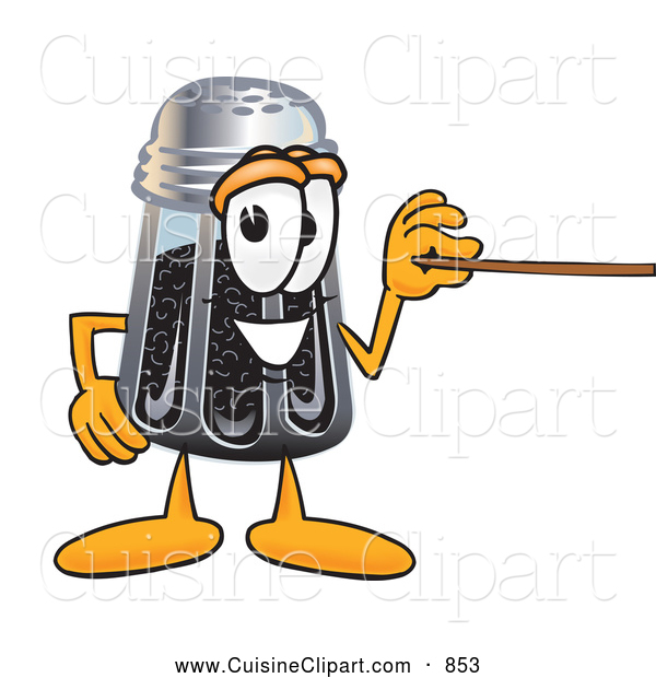 Cuisine Clipart of a Smiling Pepper Shaker Mascot Cartoon Character Holding a Pointer Stick