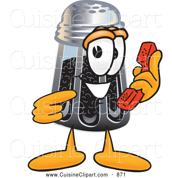Cuisine Clipart of a Smiling Pepper Shaker Mascot Cartoon Character Holding a Telephone