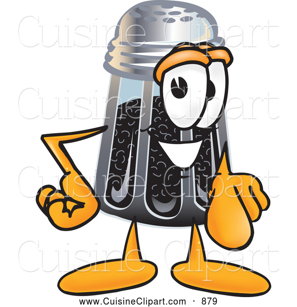 Cuisine Clipart of a Smiling Pepper Shaker Mascot Cartoon Character Pointing at the Viewer