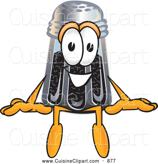 Cuisine Clipart of a Smiling Pepper Shaker Mascot Cartoon Character Sitting