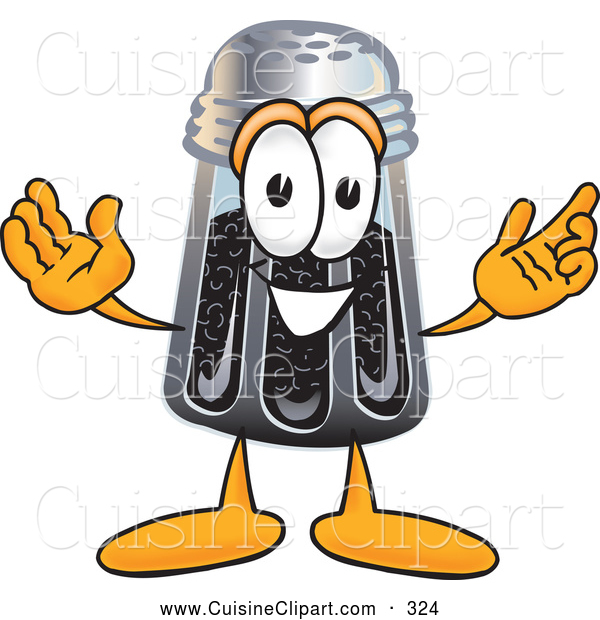 Cuisine Clipart of a Smiling Pepper Shaker Mascot Cartoon Character with Welcoming Open Arms