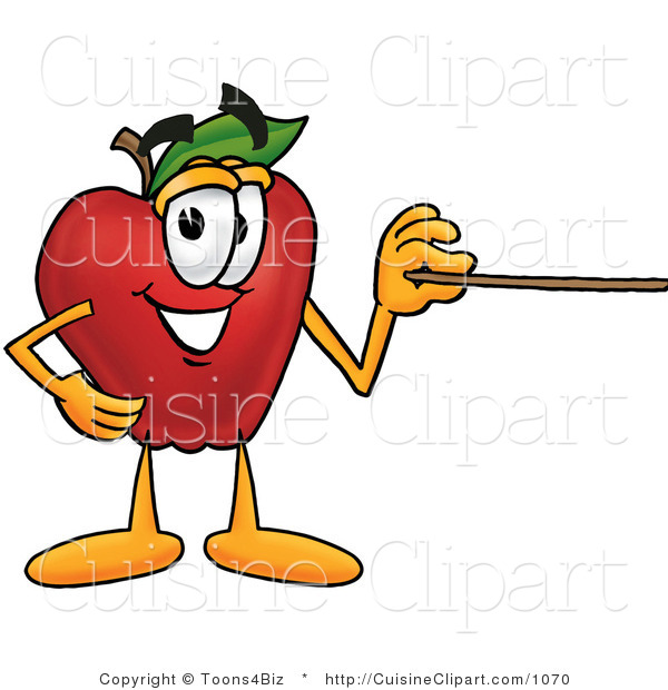 Cuisine Clipart of a Smiling Red Apple Character Mascot Using a Pointer Stick