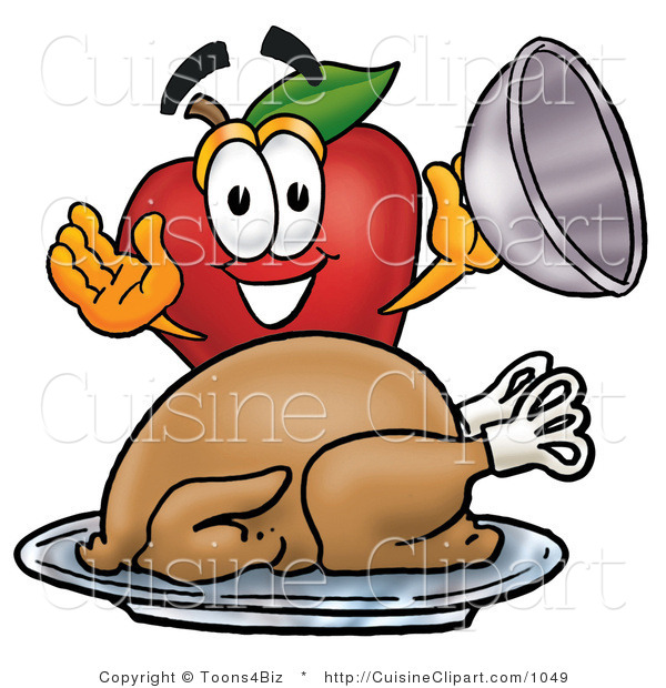 Cuisine Clipart of a Smiling Red Apple Character Mascot with a Cooked Thanksgiving Turkey on a Platter