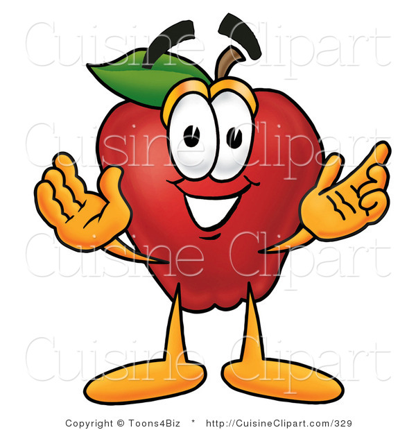 Cuisine Clipart of a Smiling Red Apple Character Mascot with Open Arms While Greeting Someone