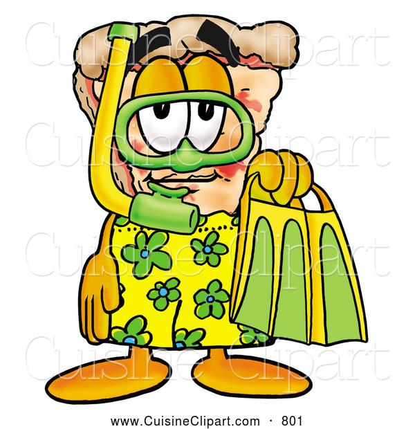 Cuisine Clipart of a Smiling Slice of Pizza Mascot Cartoon Character in Green and Yellow Snorkel Gear