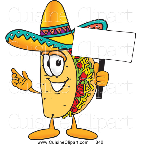 Cuisine Clipart of a Smiling Taco Mascot Cartoon Character Holding a Blank Sign