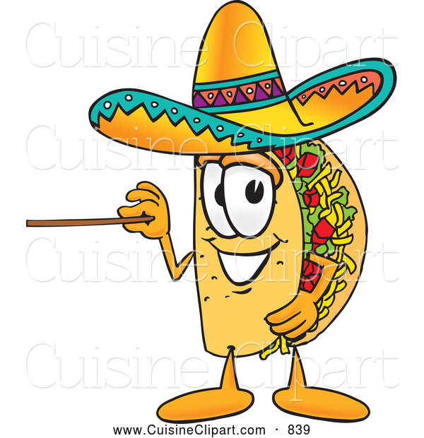 Cuisine Clipart of a Smiling Taco Mascot Cartoon Character Holding a Pointer Stick