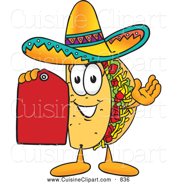 Cuisine Clipart of a Smiling Taco Mascot Cartoon Character Holding a Red Sales Price Tag