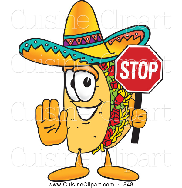 Cuisine Clipart of a Smiling Taco Mascot Cartoon Character Holding a Stop Sign
