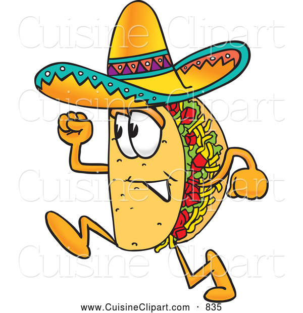 Cuisine Clipart of a Smiling Taco Mascot Cartoon Character Running
