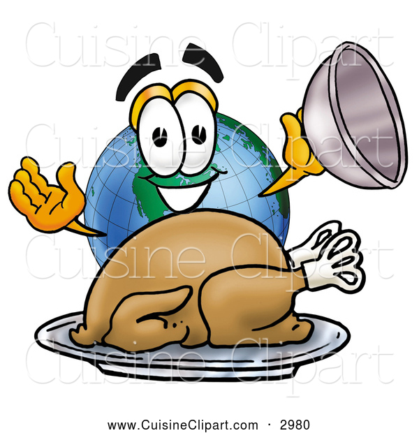 Cuisine Clipart of a Smiling World Earth Globe Mascot Cartoon Character Serving a Thanksgiving Turkey on a Platter