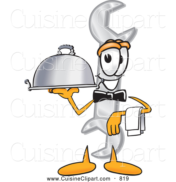 Cuisine Clipart of a Smiling Wrench Mascot Cartoon Character Dressed As a Waiter and Holding a Serving Platter