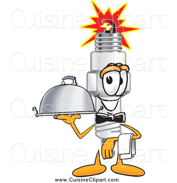 Cuisine Clipart of a Spark Plug Character Waiting Tables