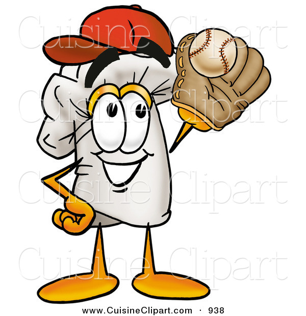 Cuisine Clipart of a Sporty Chefs Hat Mascot Cartoon Character Catching a Baseball with a Glove