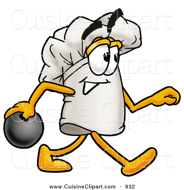 Cuisine Clipart of a Sporty Chefs Hat Mascot Cartoon Character Holding a Bowling Ball