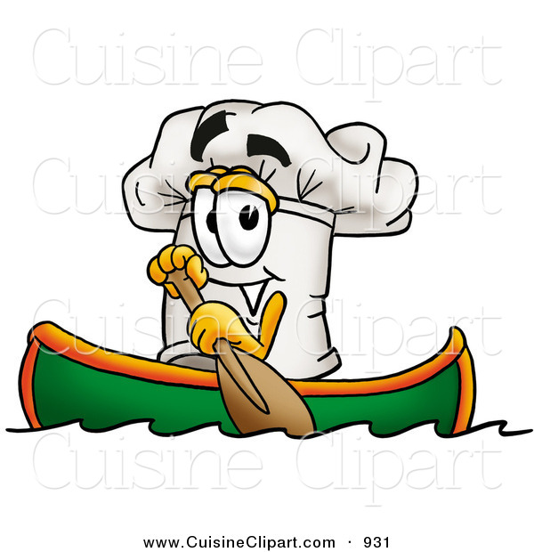 Cuisine Clipart of a Sporty Chefs Hat Mascot Cartoon Character Rowing a Boat