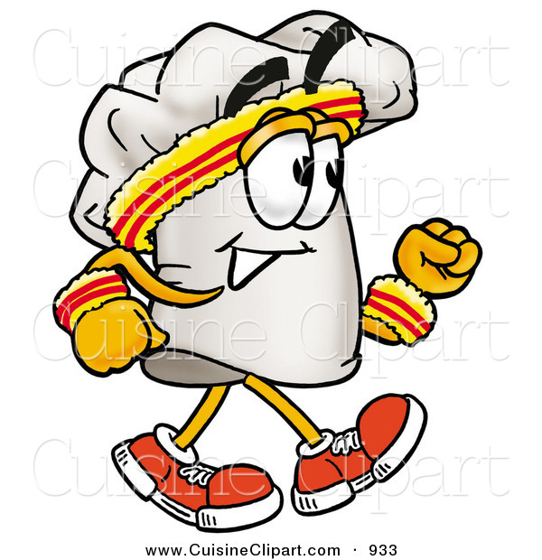 Cuisine Clipart of a Sporty Chefs Hat Mascot Cartoon Character Speed Walking or Jogging