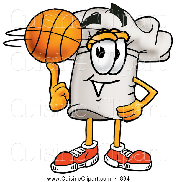 Cuisine Clipart of a Sporty Chefs Hat Mascot Cartoon Character Spinning a Basketball on His Finger over White