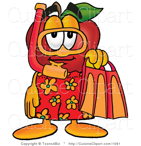 Cuisine Clipart of a Sporty Nutritious Red Apple Character Mascot in Orange and Yellow Snorkel Gear
