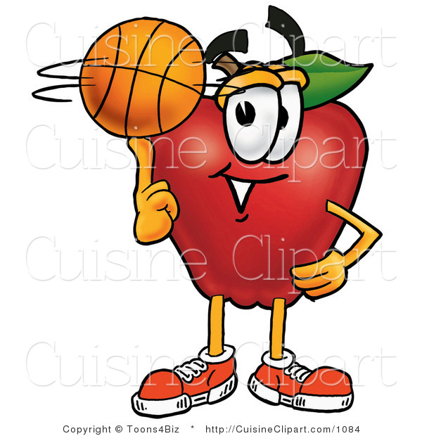 Cuisine Clipart of a Sporty Nutritious Red Apple Character Mascot Spinning a Basketball on His Finger