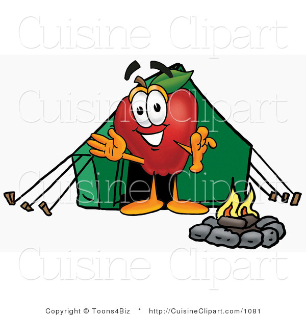 Cuisine Clipart of a Sporty Red Apple Character Mascot Camping with a Tent and a Fire