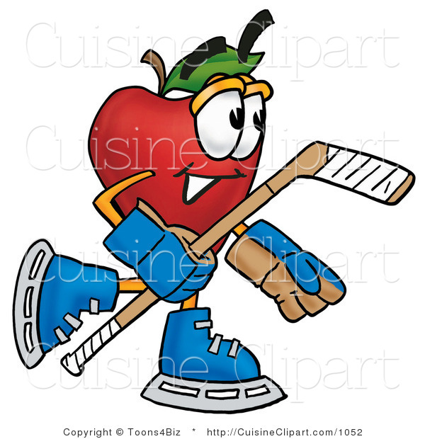 Cuisine Clipart of a Sporty Red Apple Character Mascot Playing Ice Hockey and Holding a Puck
