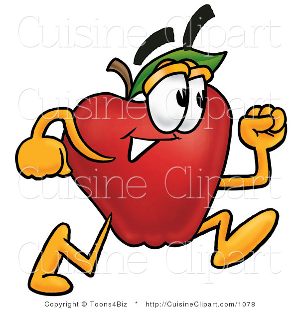 Cuisine Clipart of a Sporty Red Apple Character Mascot Running in a Hurry