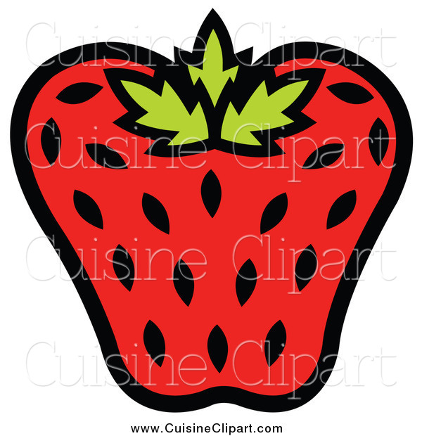 Cuisine Clipart of a Strawberry with Black Seeds