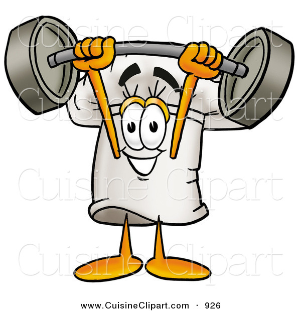 Cuisine Clipart of a Strong Chefs Hat Mascot Cartoon Character Holding a Heavy Barbell Above His Head