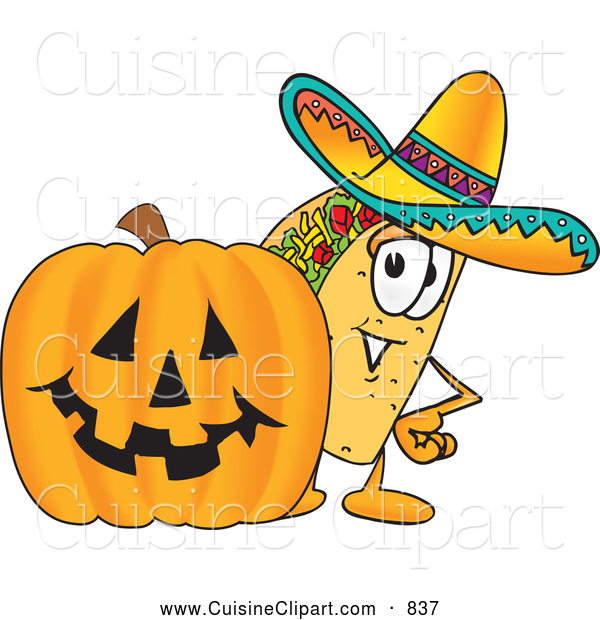 Cuisine Clipart of a Taco Mascot Cartoon Character with a Carved Halloween Jack O Lantern Pumpkin