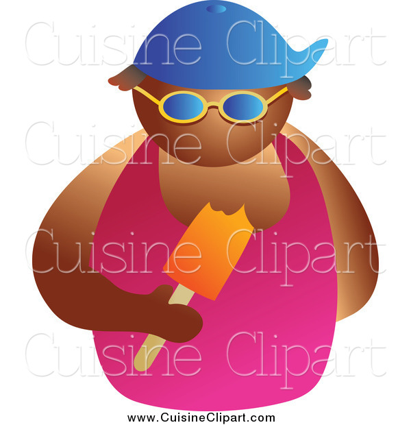 Cuisine Clipart of a Tan Man Wearing Shades and Eating a Popsicle