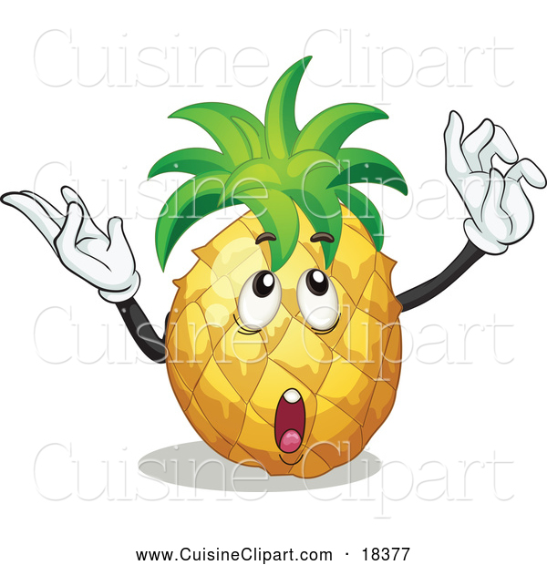 Cuisine Clipart of a Thinking and Gesturing Pineapple