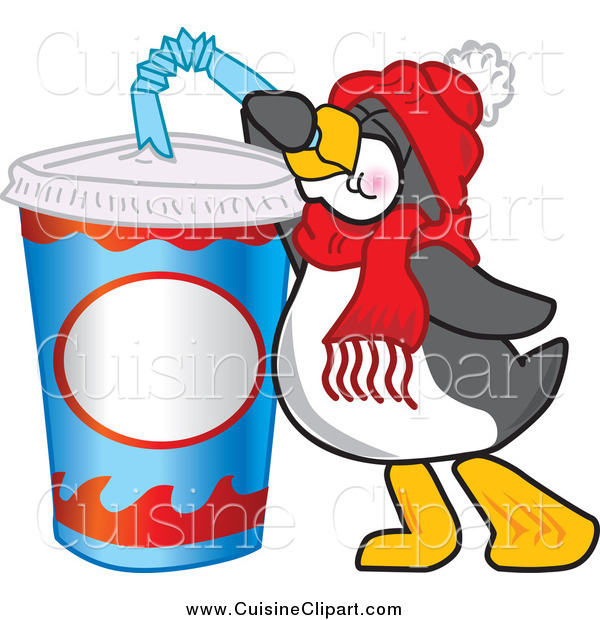 Cuisine Clipart of a Thirsty Penguin Drinking Soda Pop Through a Bendy Straw