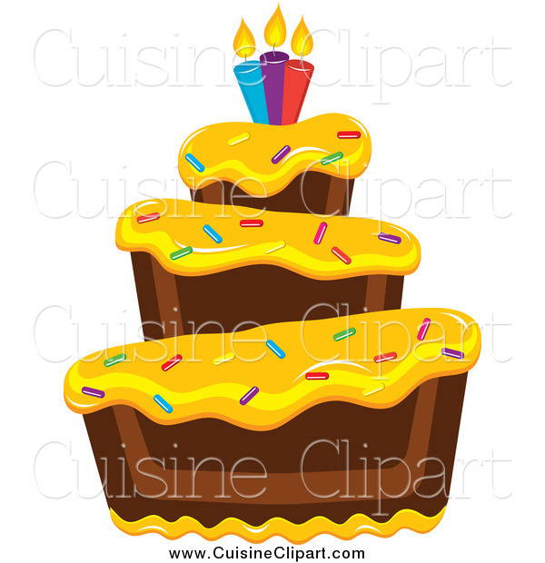 Cuisine Clipart of a Tiered Chocolate Cake with Yellow Frosting Birthday Candles and Sprinkles